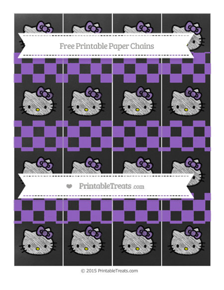 Free Amethyst Checker Pattern Chalk Style Hello Kitty Paper Chains