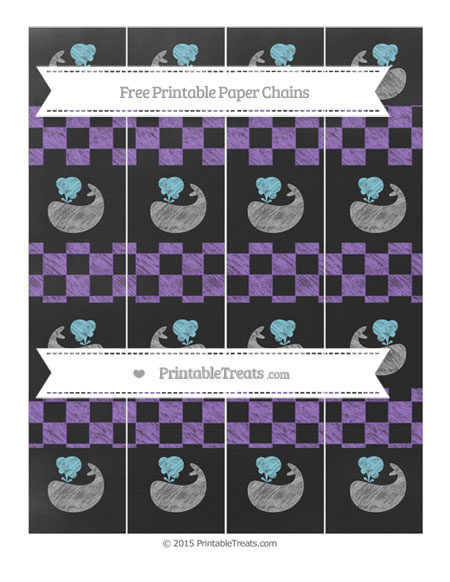 Free Amethyst Checker Pattern Chalk Style Whale Paper Chains