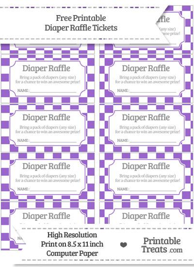Free Amethyst Checker Pattern Diaper Raffle Tickets
