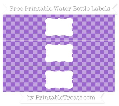 Free Amethyst Checker Pattern Water Bottle Labels