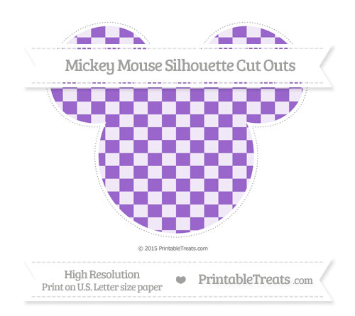 Free Amethyst Checker Pattern Extra Large Mickey Mouse Silhouette Cut Outs