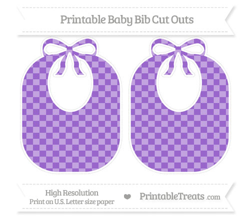 Free Amethyst Checker Pattern Large Baby Bib Cut Outs