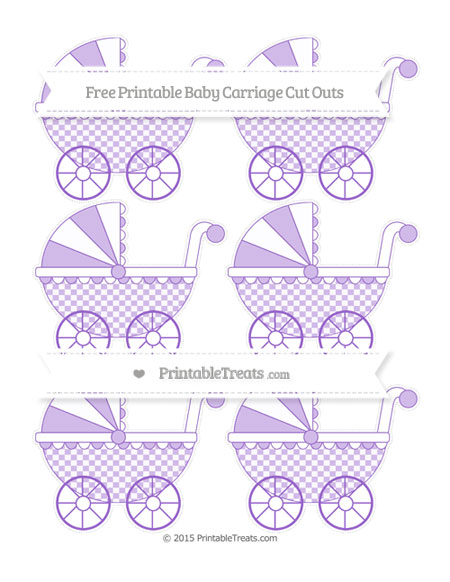 Free Amethyst Checker Pattern Small Baby Carriage Cut Outs