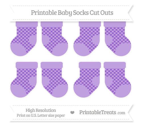 Free Amethyst Checker Pattern Small Baby Socks Cut Outs