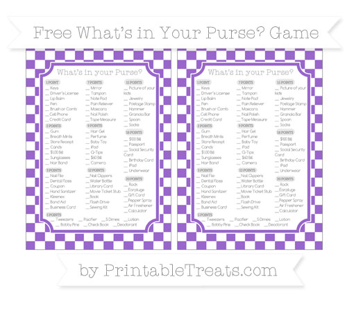 Free Amethyst Checker Pattern What's in Your Purse Baby Shower Game