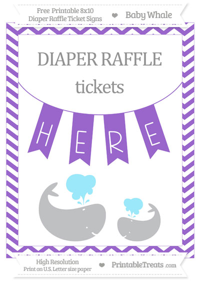Free Amethyst Chevron Baby Whale 8x10 Diaper Raffle Ticket Sign