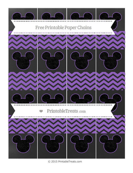Free Amethyst Chevron Chalk Style Mickey Mouse Paper Chains