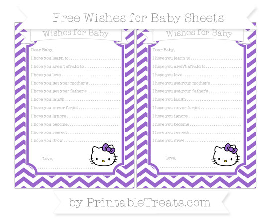 Free Amethyst Chevron Hello Kitty Wishes for Baby Sheets