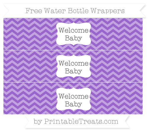 Free Amethyst Chevron Welcome Baby Water Bottle Wrappers