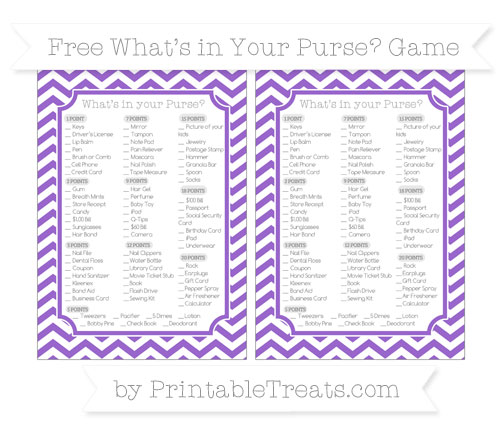 Free Amethyst Chevron What's in Your Purse Baby Shower Game