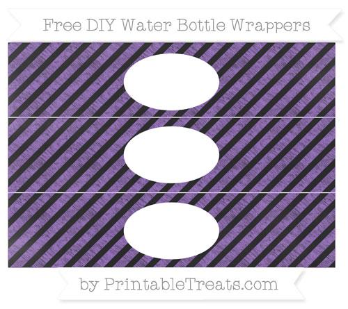 Free Amethyst Diagonal Striped Chalk Style DIY Water Bottle Wrappers