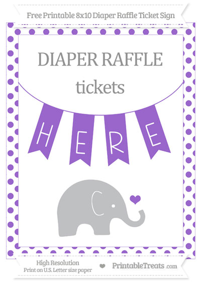 Free Amethyst Dotted Baby Elephant 8x10 Diaper Raffle Ticket Sign