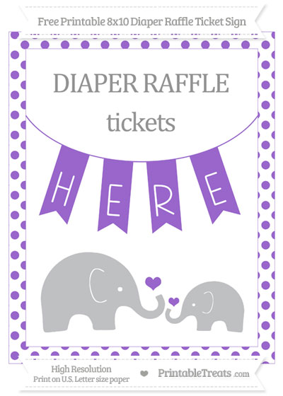 Free Amethyst Dotted Elephant 8x10 Diaper Raffle Ticket Sign