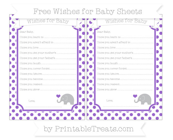 Free Amethyst Dotted Pattern Baby Elephant Wishes for Baby Sheets