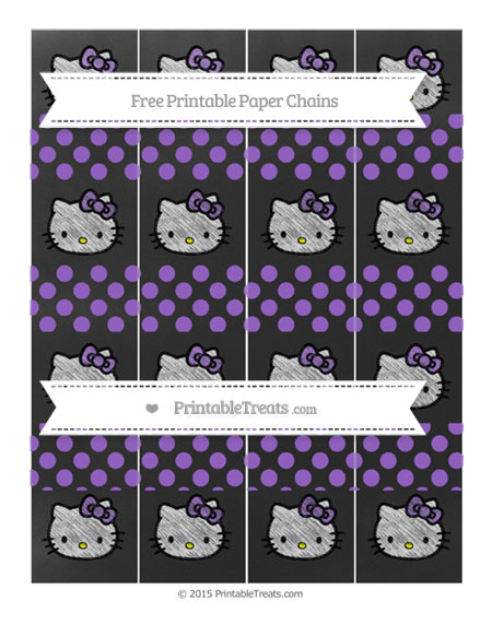 Free Amethyst Dotted Pattern Chalk Style Hello Kitty Paper Chains