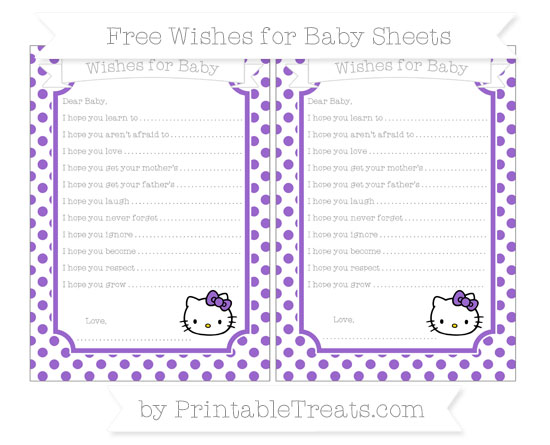 Free Amethyst Dotted Pattern Hello Kitty Wishes for Baby Sheets