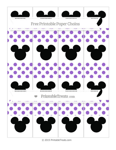 Free Amethyst Dotted Pattern Mickey Mouse Paper Chains