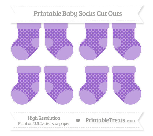 Free Amethyst Dotted Pattern Small Baby Socks Cut Outs