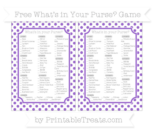 Free Amethyst Dotted Pattern What's in Your Purse Baby Shower Game