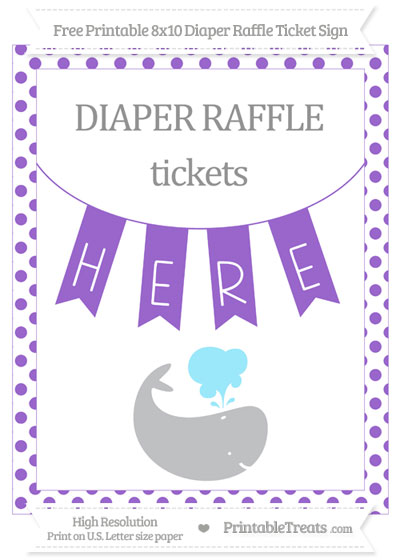 Free Amethyst Dotted Whale 8x10 Diaper Raffle Ticket Sign
