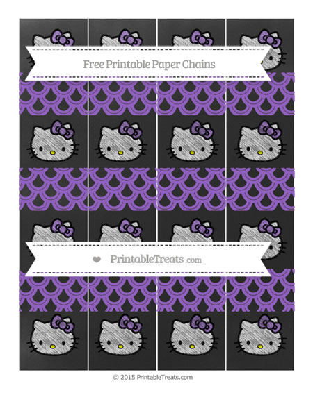 Free Amethyst Fish Scale Pattern Chalk Style Hello Kitty Paper Chains