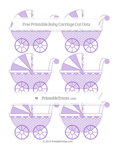 Free Amethyst Fish Scale Pattern Small Baby Carriage Cut Outs