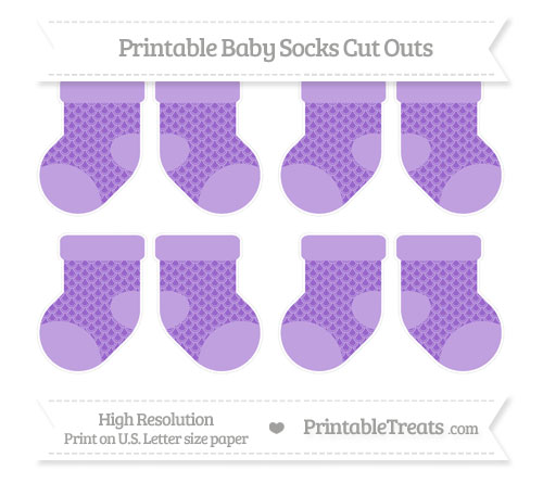 Free Amethyst Fish Scale Pattern Small Baby Socks Cut Outs