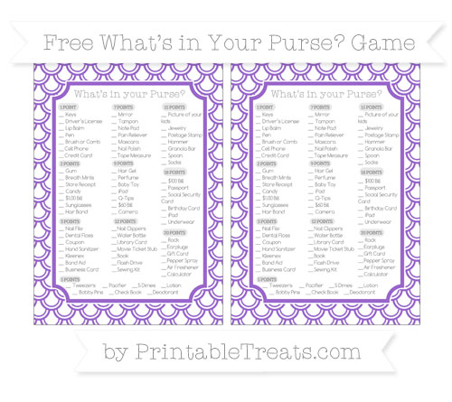 Free Amethyst Fish Scale Pattern What's in Your Purse Baby Shower Game