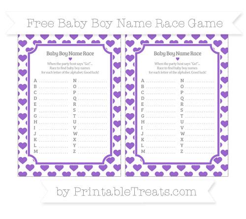 Free Amethyst Heart Pattern Baby Boy Name Race Game