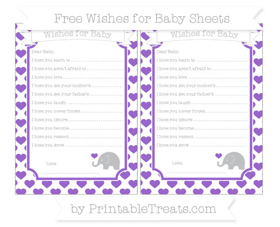 Free Amethyst Heart Pattern Baby Elephant Wishes for Baby Sheets