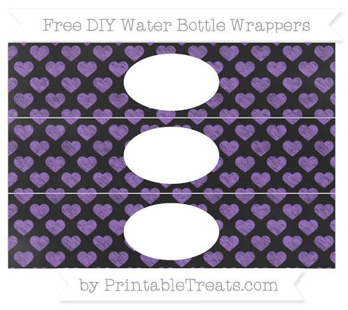 Free Amethyst Heart Pattern Chalk Style DIY Water Bottle Wrappers