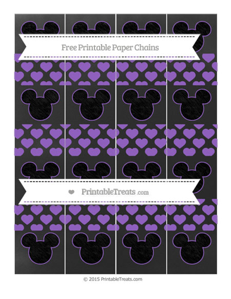 Free Amethyst Heart Pattern Chalk Style Mickey Mouse Paper Chains