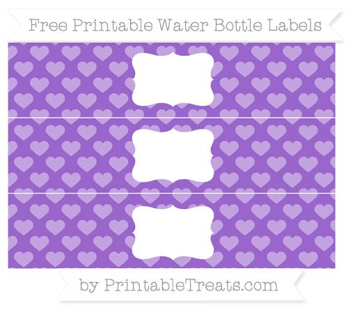 Free Amethyst Heart Pattern Water Bottle Labels
