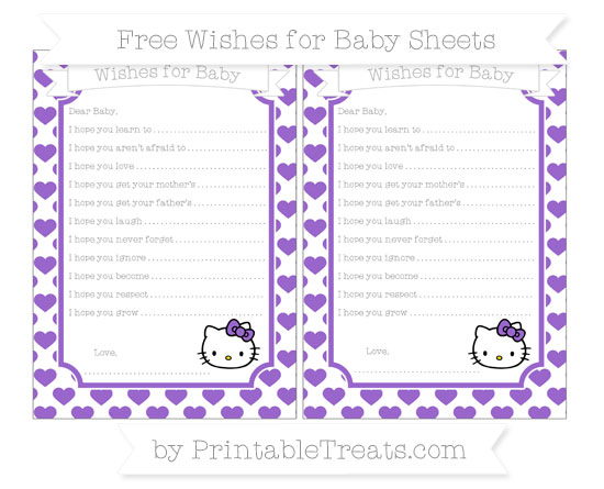 Free Amethyst Heart Pattern Hello Kitty Wishes for Baby Sheets