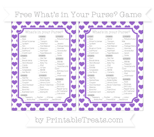 Free Amethyst Heart Pattern What's in Your Purse Baby Shower Game