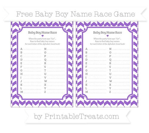 Free Amethyst Herringbone Pattern Baby Boy Name Race Game