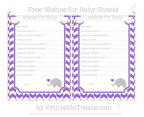 Free Amethyst Herringbone Pattern Baby Elephant Wishes for Baby Sheets