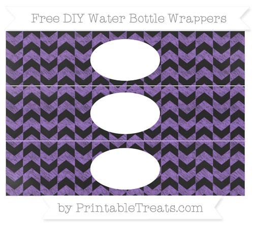 Free Amethyst Herringbone Pattern Chalk Style DIY Water Bottle Wrappers