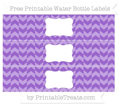Free Amethyst Herringbone Pattern Water Bottle Labels