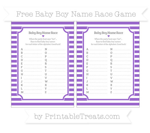 Free Amethyst Horizontal Striped Baby Boy Name Race Game
