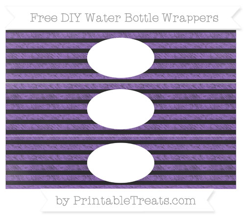 Free Amethyst Horizontal Striped Chalk Style DIY Water Bottle Wrappers