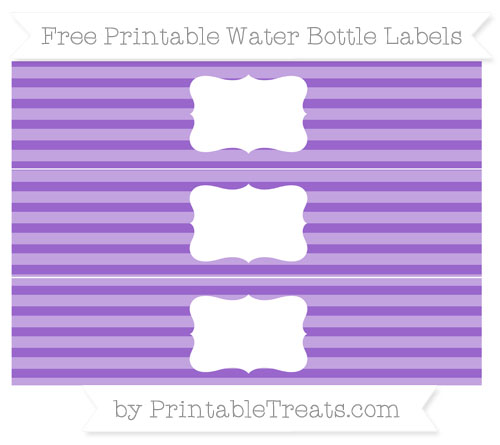 Free Amethyst Horizontal Striped Water Bottle Labels
