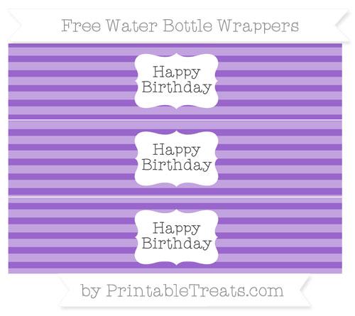 Free Amethyst Horizontal Striped Happy Birhtday Water Bottle Wrappers