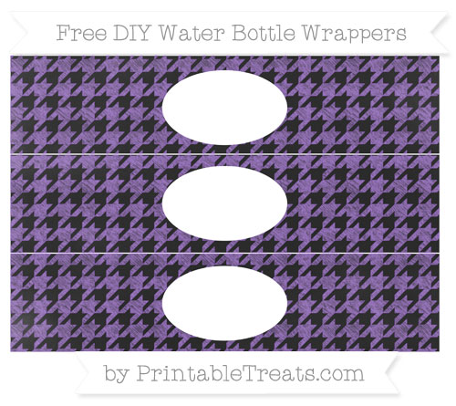 Free Amethyst Houndstooth Pattern Chalk Style DIY Water Bottle Wrappers