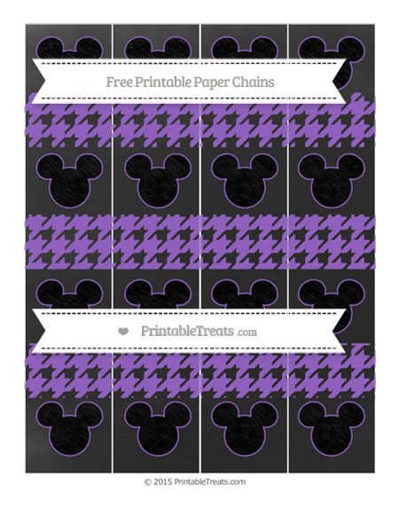 Free Amethyst Houndstooth Pattern Chalk Style Mickey Mouse Paper Chains