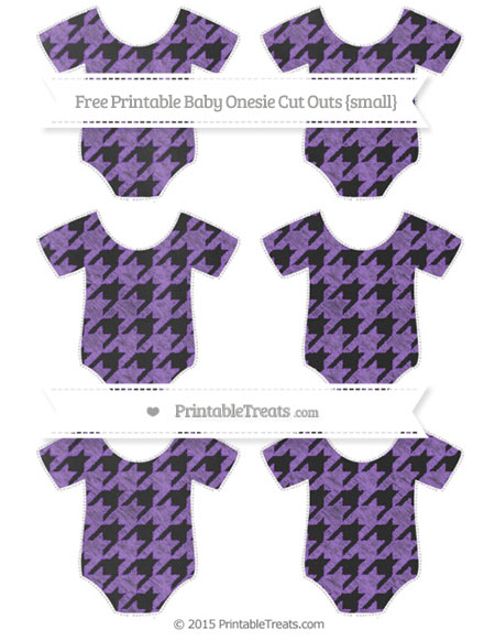 Free Amethyst Houndstooth Pattern Chalk Style Small Baby Onesie Cut Outs