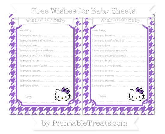 Free Amethyst Houndstooth Pattern Hello Kitty Wishes for Baby Sheets