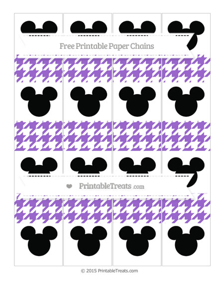 Free Amethyst Houndstooth Pattern Mickey Mouse Paper Chains