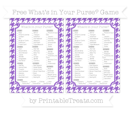 Free Amethyst Houndstooth Pattern What's in Your Purse Baby Shower Game