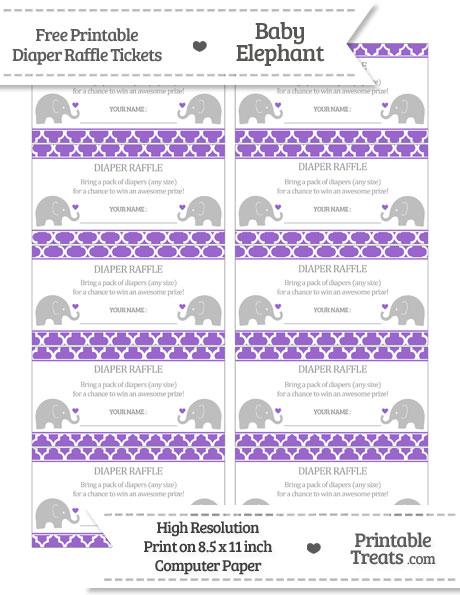 Free Amethyst Moroccan Tile Baby Elephant Diaper Raffle Tickets